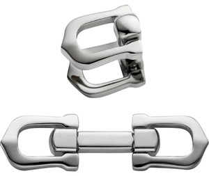 Cartier Elongated Cartier C Shape Decor Silver Cufflinks