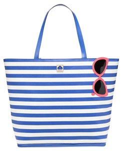 Kate Spade Lacquer Canvas Leather Trim Blue White New With Tags Tote in Sunglasses Multi