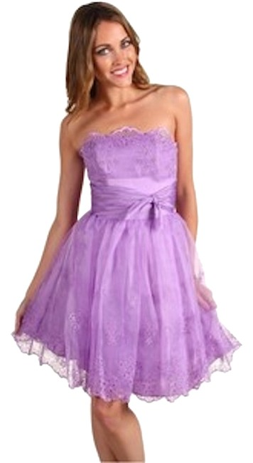 Betsey Johnson Day Evening Spring Chiffon Empire Waist Embellished Belted Eyelet Stitched Ballerina Tulle Bow Detail Wedding Lace Dress