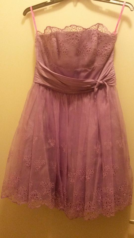 d7e22d4f2ae Betsey Johnson Purple Eve Geometric Eyelet Strapless Above Knee Cocktail  Dress Size 10 (M) - Tradesy
