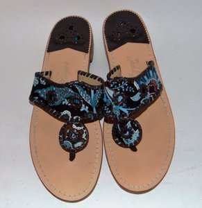 Jack Rogers Dania Palm Beach Paisley Fabric Brown Sandals