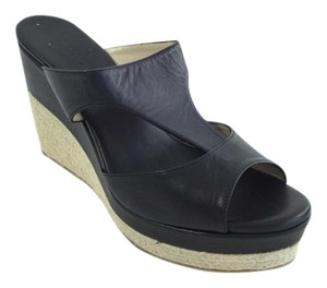 Jimmy Choo Wedge Espadrille Sandal Leather Black Mules