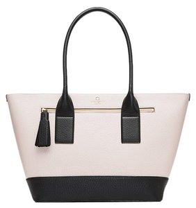 Kate Spade Leather Ivory Black Harmony Tote in Pebble/Black