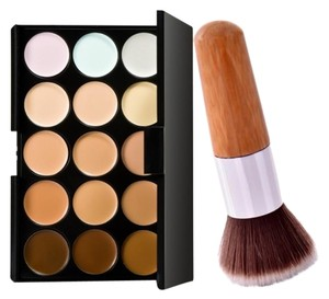 Other Bamboo Kabuki Makeup Brush + 15-Color Contour Creme Concealer Palette