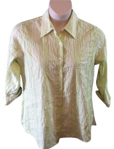 Coldwater Creek Plus Size Casual Cotton Button Down Shirt Green