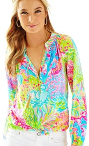 Lilly Pulitzer Elsa Lover's Coral Top Multi