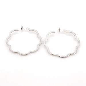 Chanel Chanel Profil De Camelia 18k White Gold Open Hoop Earrings