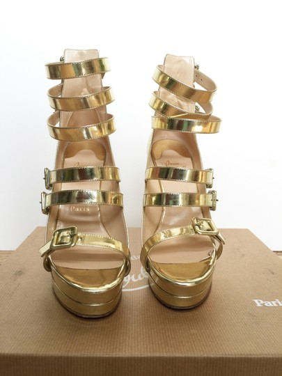 Christian Louboutin Metallic Strappy Platform Buckles gold Pumps