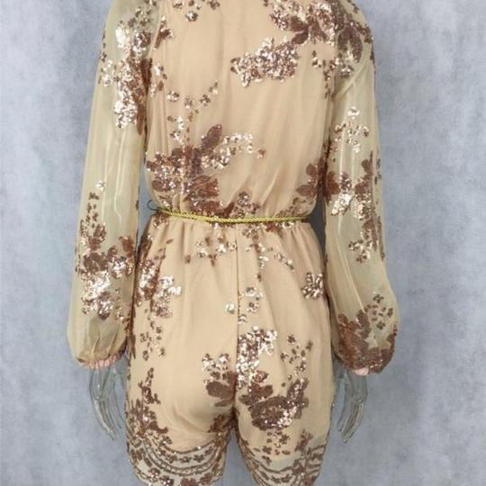 Gold V Neck Romper/Jumpsuit #19333894 - Rompers & Jumpsuits free shipping