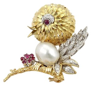 Diamonds Ruby & Pearl 14k Yellow Gold Bird Brooch/Pin