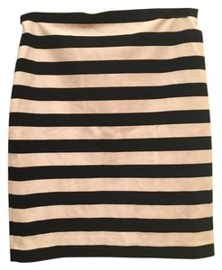 Vince Camuto Striped Mini Skirt Black and white