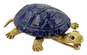 Other Lapis Lazuli & Sapphire 18k Gold Turtle Brooch Pin