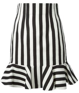 Dolce&Gabbana Coutoure Bell Striped Designer Silk Skirt Black and White