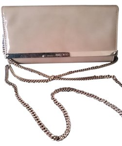 Jimmy Choo Patent Woc Chain Brownish Pink Clutch