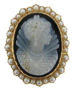 Other STUNNING - 14k Gold Onyx Pearl Cameo