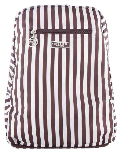 Item - Striped Zip Around Packable Fashion Brown/Ivory Nylon Backpack
