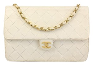 Chanel Quilted Lambskin Leather Clutch Shoulder Bag