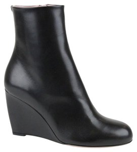 Gucci Charlene Black Leather Wedge Black 1000 Boots