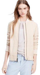 Vince Leather Bomber Leather Cream Leather Jacket