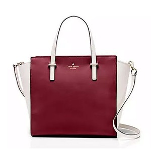Kate Spade Cedar Street Small Hayden Red White Leather Satchel in Merlot