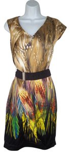 Karen Millen Silk Satin Feather Print Belted Asymmetric Dress