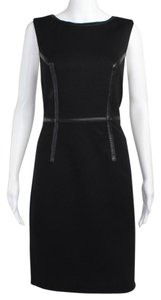 Trina Turk Ponte Sheath Leather Knit Fitted Dress