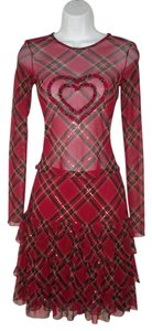 Betsey Johnson Plaid Mesh Sequin Heart Ruffled Dress