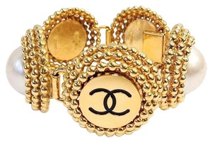 Chanel Chanel Vintage Gold CC Large Pearl Cuff Bracelet