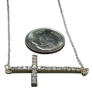 Other Dainty 925 Religious CROSS with CZ stones Solid sterling silver