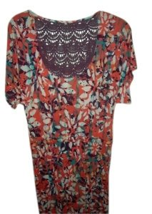 Mudd short dress orange floral/purple on Tradesy