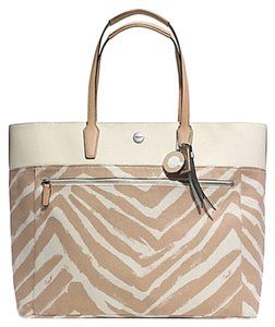 Coach Tote in Silver/ Natural