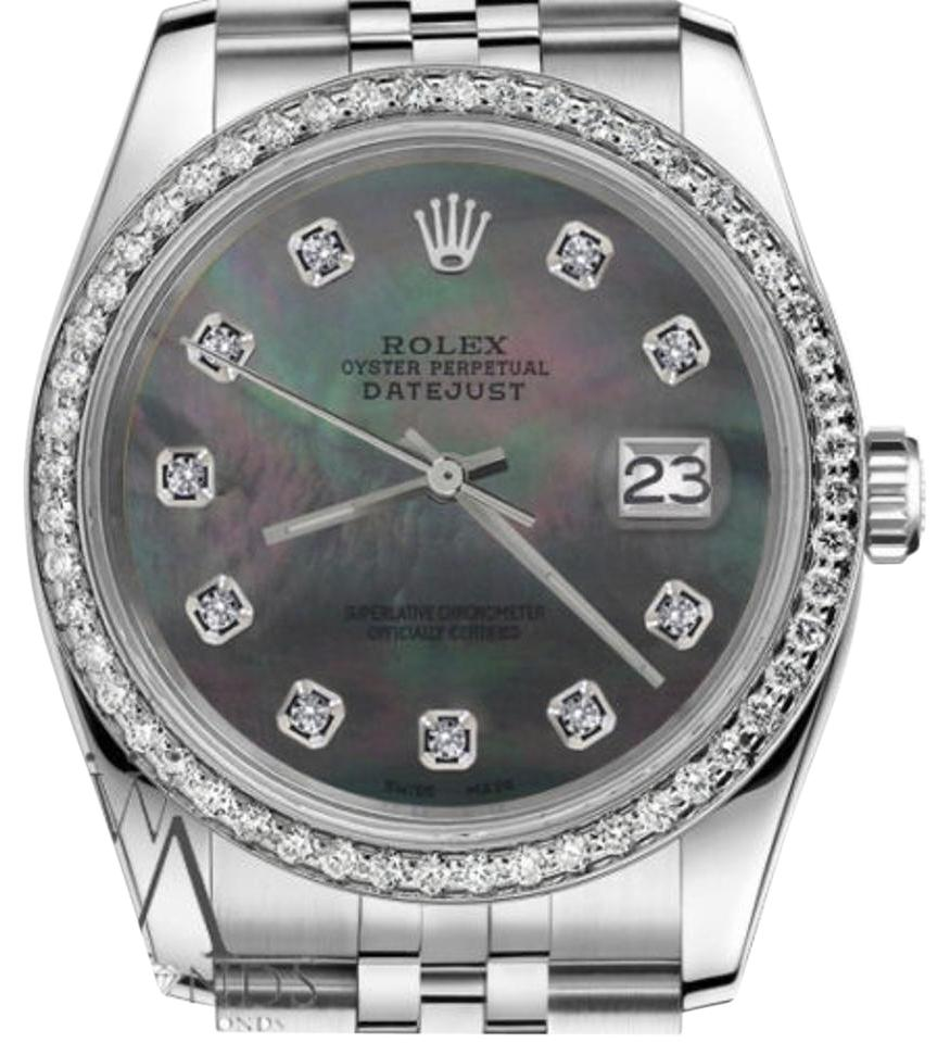 2eda64215186 Rolex Women's 31mm Datejust Black Mother Of Pearl Dial with Diamond Watch