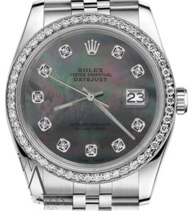 Rolex Men`s 36mm Datejust Black MOP Mother Of Pearl Dial with Diamond Watch