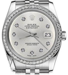Rolex Women`s 26mm Datejust Silver Color Dial with 10 Round Diamond Watch