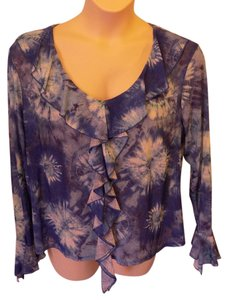 Clio II Plus Size Casual Floral Top Blue