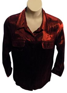 Kim Rogers Plus Size Shimmer Longsleeve Solid Top Red