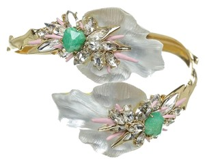 Alexis Bittar Alexis Bittar Gold and White Multicolor Bejeweled Cuff Bracelet