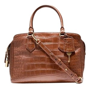 Cole Haan Crocodile-embossed Satchel in Chestnut