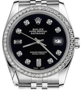 Rolex Ladies 31mm Datejust Black Color Dial with 8+2 Diamond Accent Watch