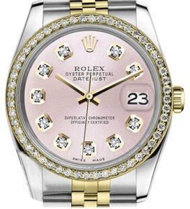 Rolex Women`s Rolex 26mm Datejust 2 Tone Metallic Pink Diamond Dial Watch