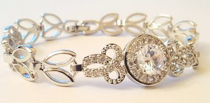 Wedding Cz Silver Plated Bracelet /bridesmaid Cz Silver Plated Bracelet