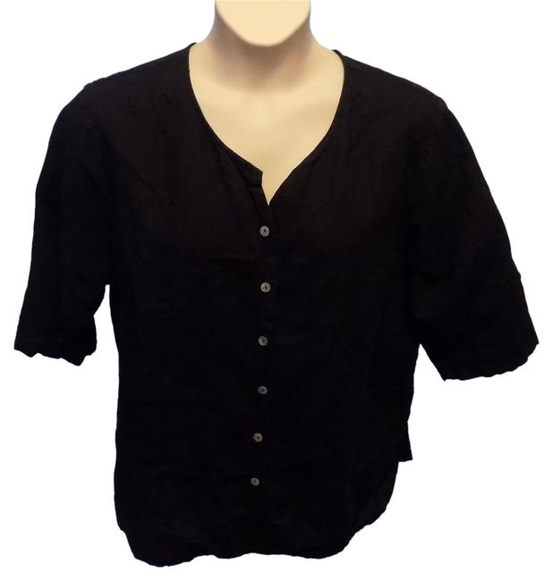 Item - Black Casual Linen Solid Front Tunic Size 20 (Plus 1x)