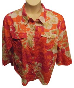 Alfred Dunner Plus Size Casual Floral Cotton Button Down Shirt Orange