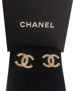 Chanel Classic Chanel CC Logo Moscova Crystal Earrings