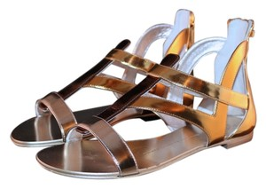 Giuseppe Zanotti Metallic Sandal Sandals Leather bronze/gold Flats