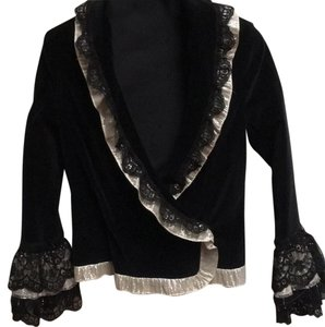 Alice + Olivia Velvet Lace Trim Frilly Cuffs BLACK Blazer