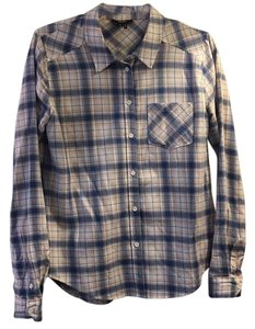 Paige Denim Button Down Shirt Pink, blue, and white plaid