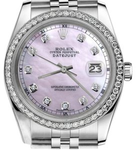 Rolex Women's 31mm Datejust Pink Mother Of Pearl Dial Diamond Accent Watch
