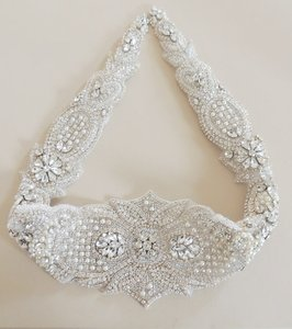 Wedding Dress Gown Beaded Jeweled Crystal Belt Sash