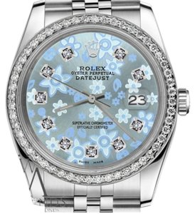 Rolex Women`s 26mm Datejust Glossy Ice Blue Flower Dial Diamond AccentWatch